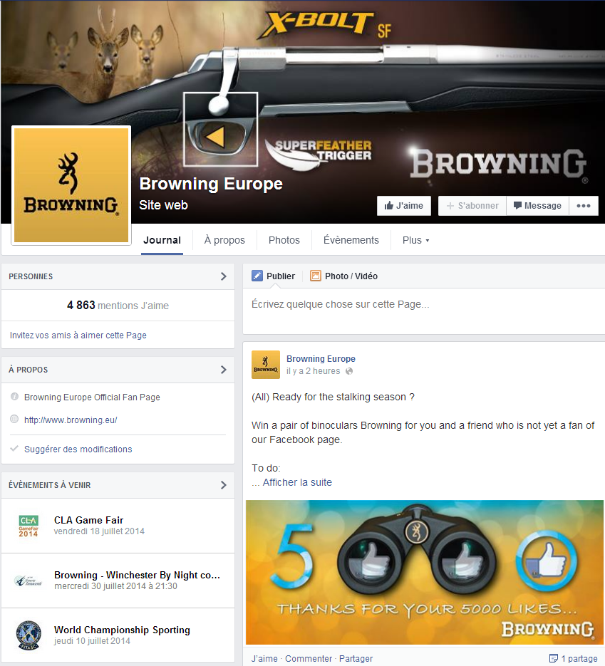 Page Facebook Browning Europe