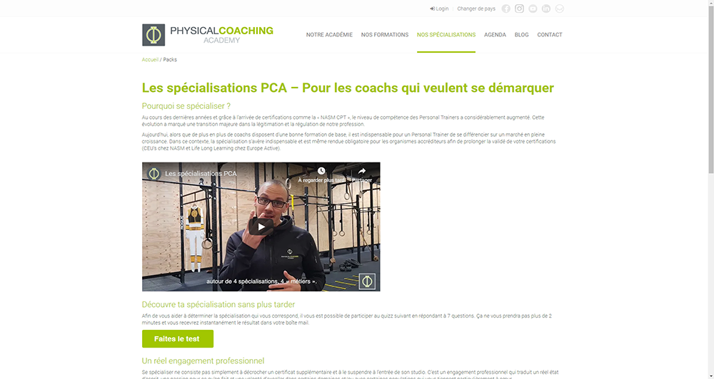 Physical Coaching Academy - Nos Spécialisations